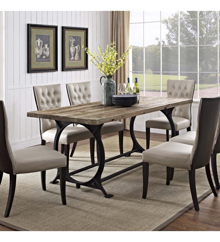 Effuse Rectangle Wood Top Dining Table in Brown - Lexmod