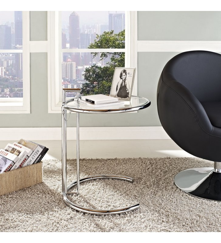 Eileen Gray Chrome Stainless Steel End Table in Silver - Lexmod