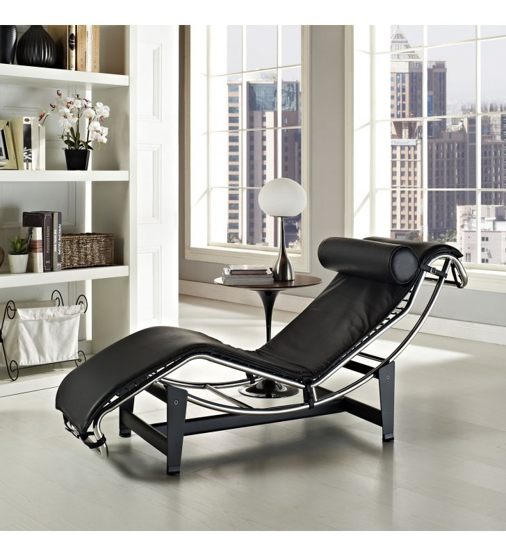 Charles Leather Chaise Lounge in Black - Lexmod