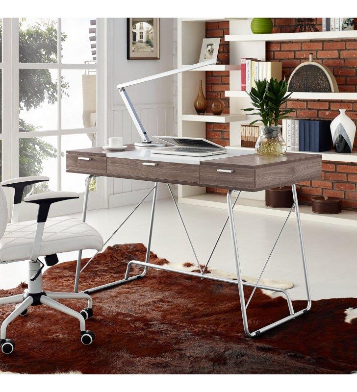 Panel Office Desk in Birch - Lexmod