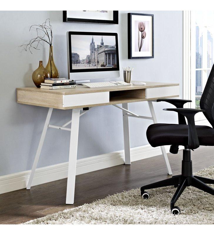 Stir Office Desk in Oak - Lexmod