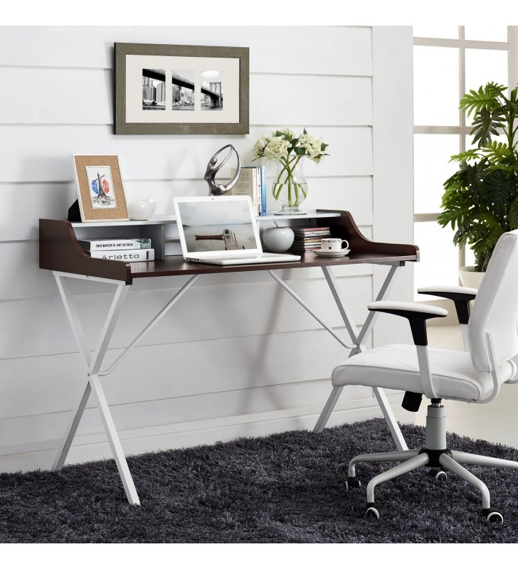 Bin Office Desk in Cherry - Lexmod
