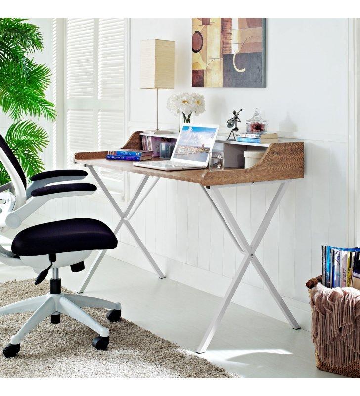 Bin Office Desk in Walnut - Lexmod
