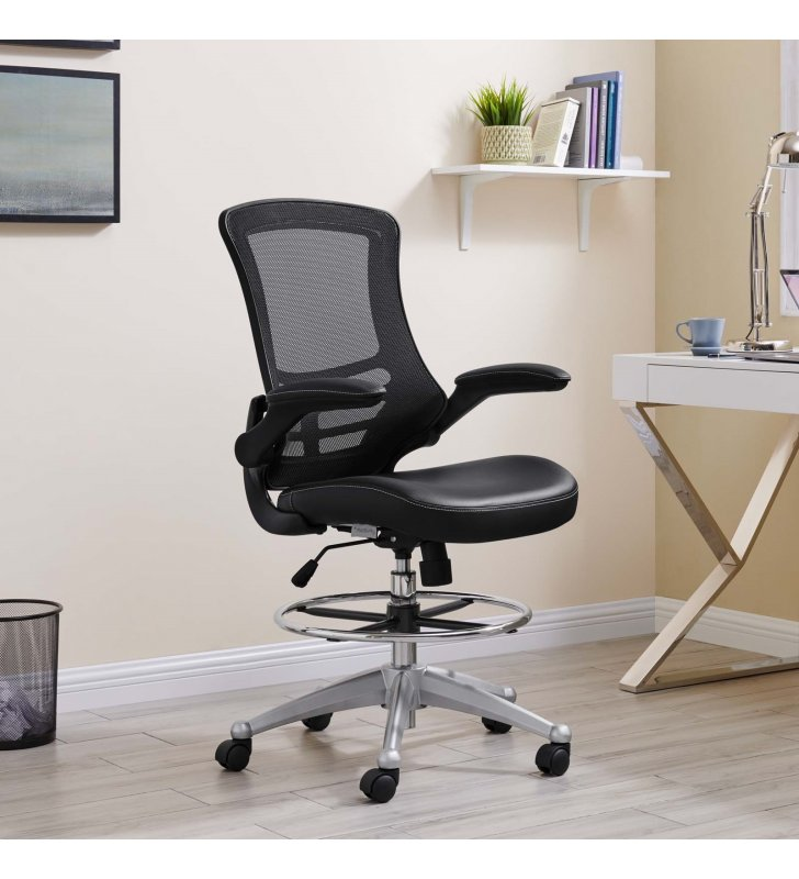 Attainment Vinyl Drafting Chair in Black - Lexmod