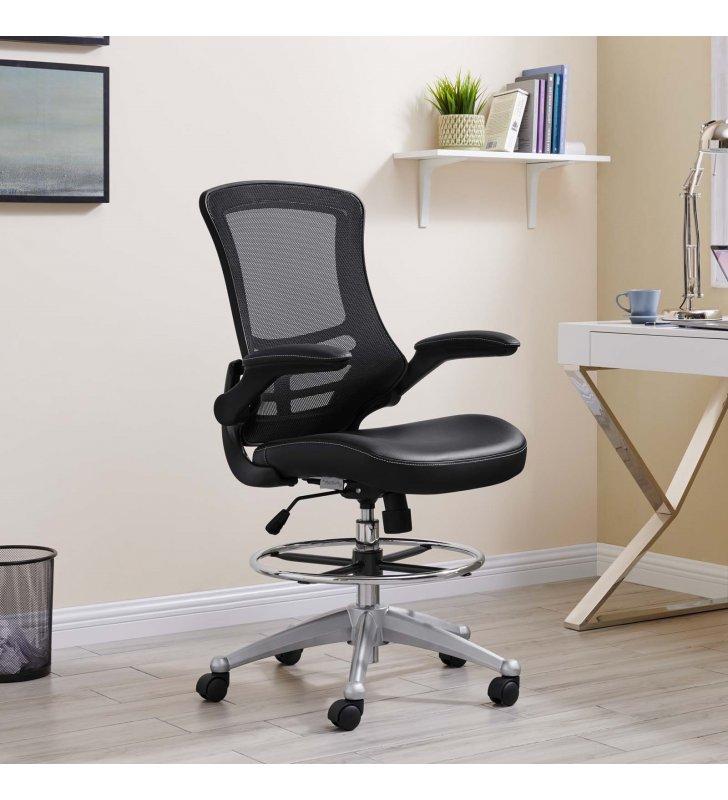 Attainment Vinyl Drafting Chair in Black - Lexmod