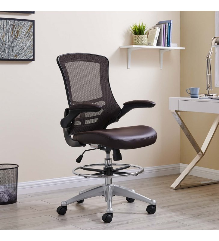 Attainment Vinyl Drafting Chair in Brown - Lexmod