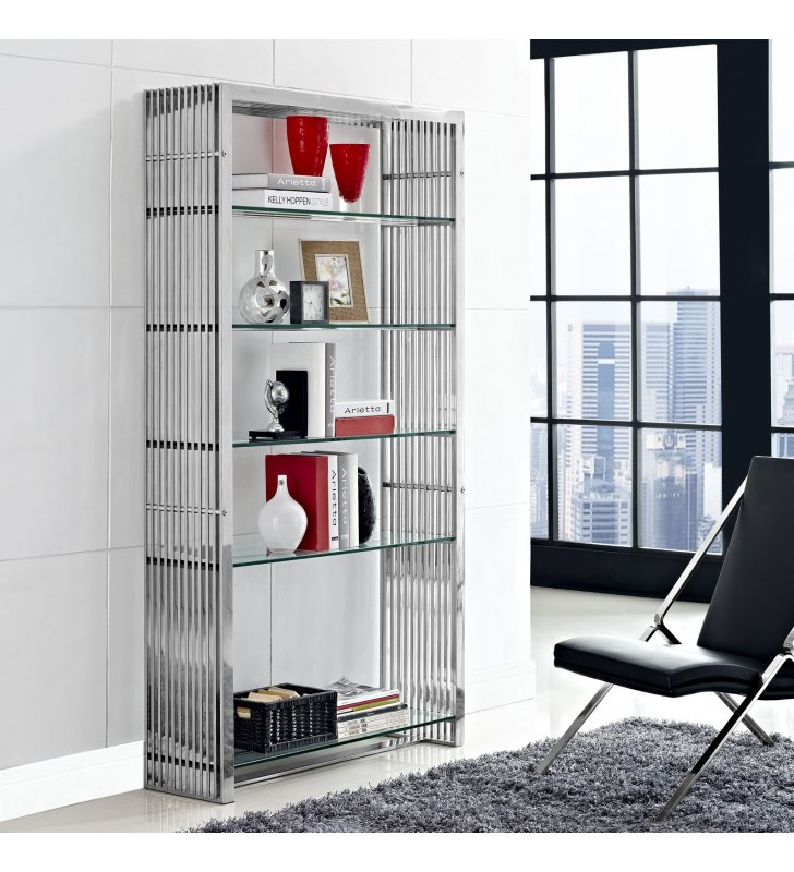 Gridiron Stainless Steel Bookshelf in Silver - Lexmod