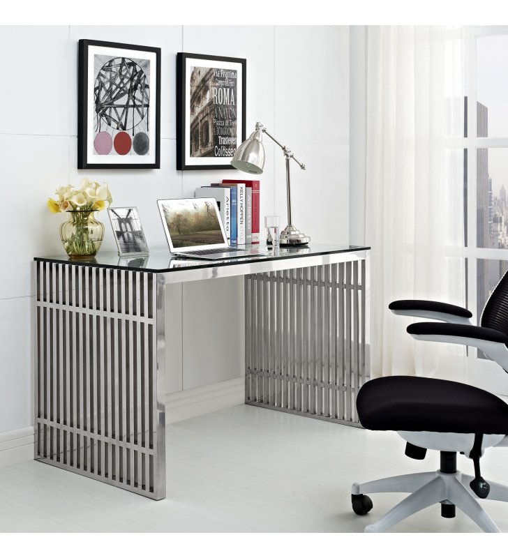 Gridiron Stainless Steel Office Desk in Silver - Lexmod