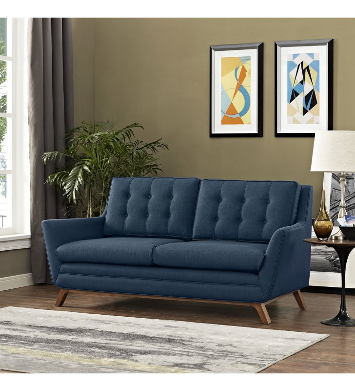 Beguile Upholstered Fabric Loveseat in Azure - Lexmod