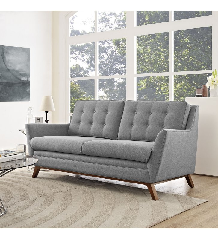 Beguile Upholstered Fabric Loveseat in Expectation Gray - Lexmod