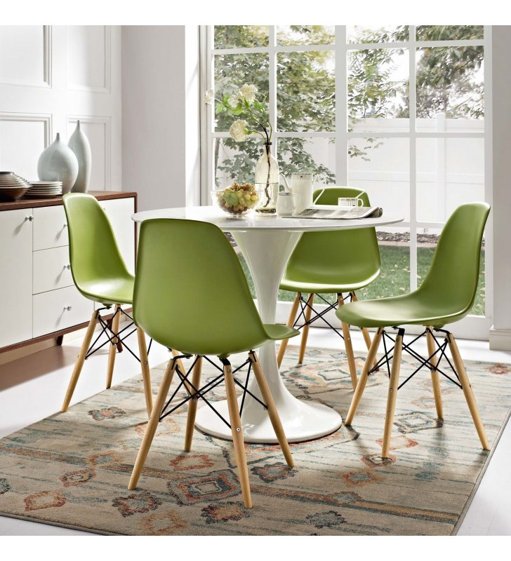 Pyramid Dining Side Chair in Light Green - Lexmod