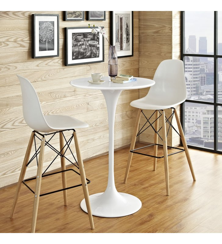 """Lippa 28"""" Round Wood Bar Table in White - Lexmod"""