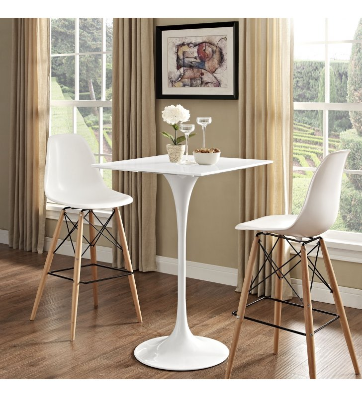 """Lippa 28"""" Square Wood Top Bar Table in White - Lexmod"""