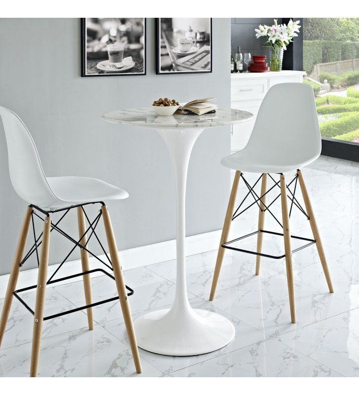 """Lippa 28"""" Round Artificial Marble Bar Table in White - Lexmod"""