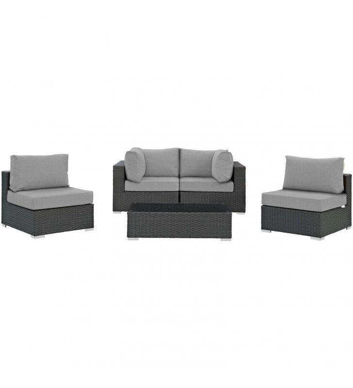 Sojourn 5 Piece Outdoor Patio Sunbrella Sectional Set in Canvas Gray - Lexmod