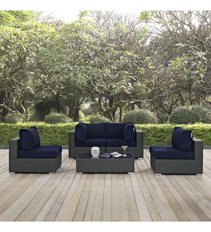 Sojourn 5 Piece Outdoor Patio Sunbrella® Sectional Set in Canvas Navy - Lexmod
