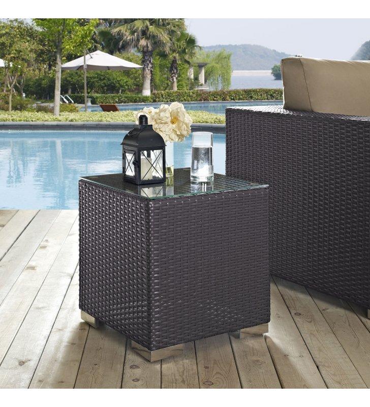 Convene Outdoor Patio Side Table in Espresso - Lexmod