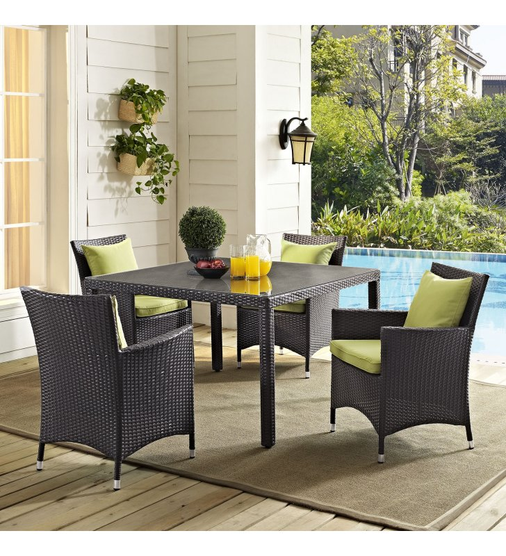 """Convene 47"""" Square Outdoor Patio Glass Top Dining Table in Espresso - Lexmod"""