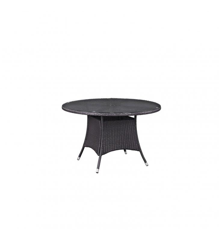 "Convene 47"" Round Outdoor Patio Dining Table in Espresso - Lexmod"