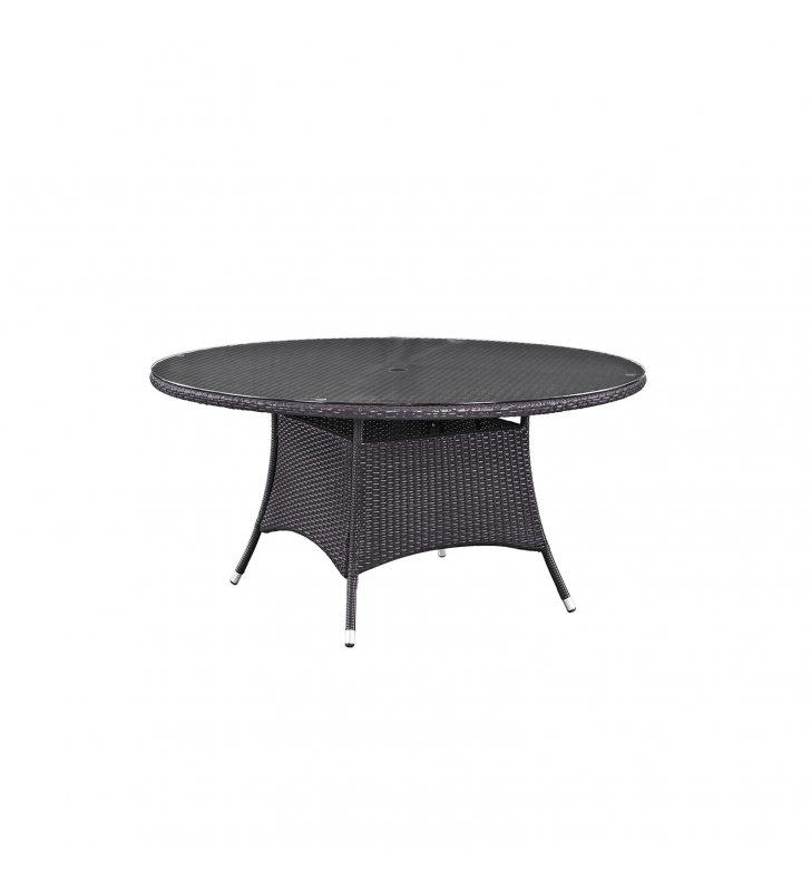 "Convene 59"" Round Outdoor Patio Dining Table in Espresso - Lexmod"
