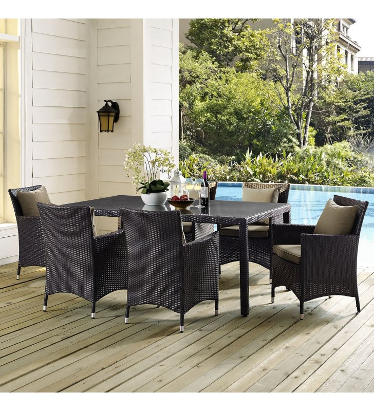 "Convene 70"" Outdoor Patio Dining Table in Espresso - Lexmod"