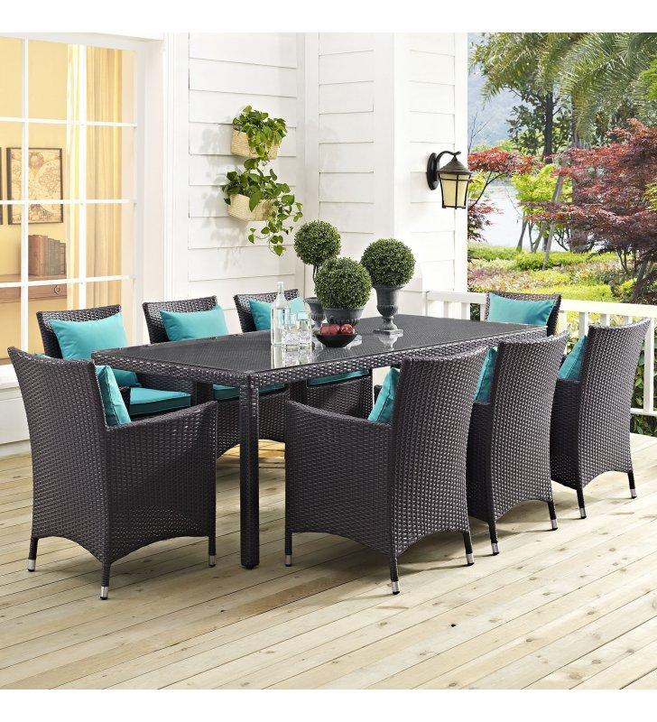 "Convene 82"" Outdoor Patio Dining Table in Espresso - Lexmod"