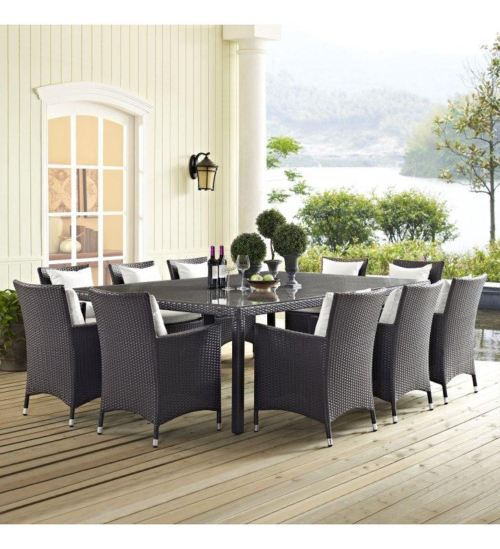 "Convene 90"" Outdoor Patio Dining Table in Espresso - Lexmod"