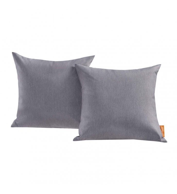 Convene Two Piece Outdoor Patio Pillow Set in Gray - Lexmod