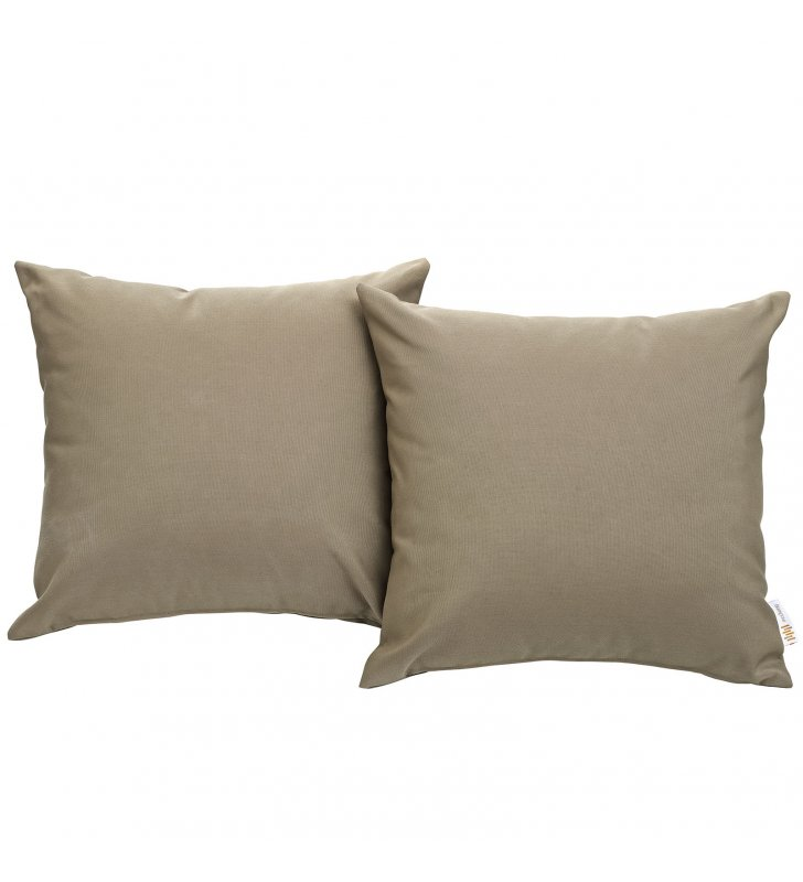Convene Two Piece Outdoor Patio Pillow Set in Mocha - Lexmod