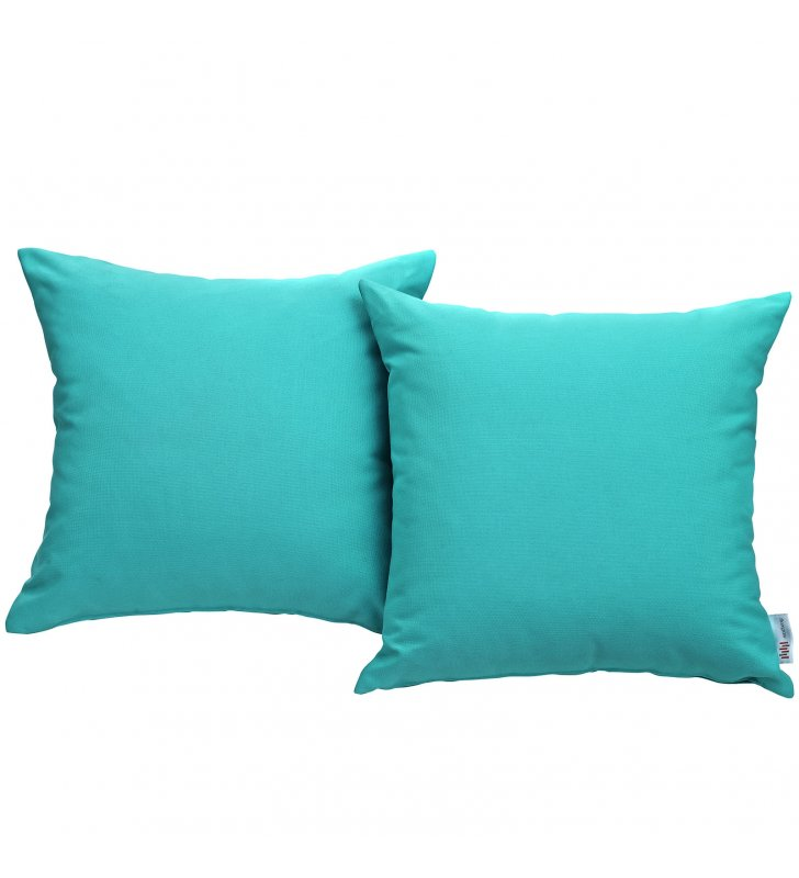 Convene Two Piece Outdoor Patio Pillow Set in Turquoise - Lexmod