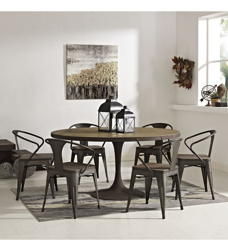 "Drive 60"" Round Wood Top Dining Table in Brown - Lexmod"