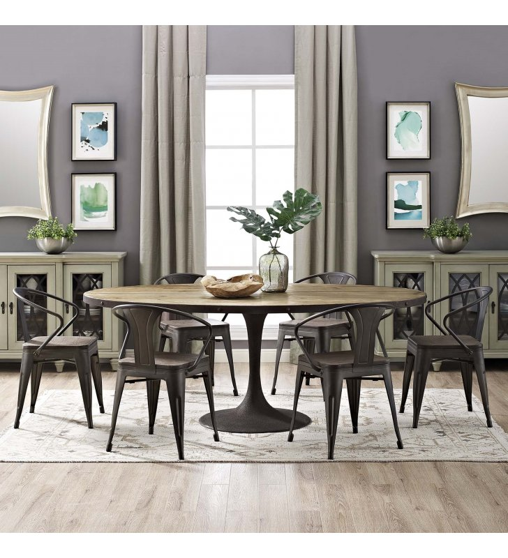 """Drive 78"""" Oval Wood Top Dining Table in Brown - Lexmod"""