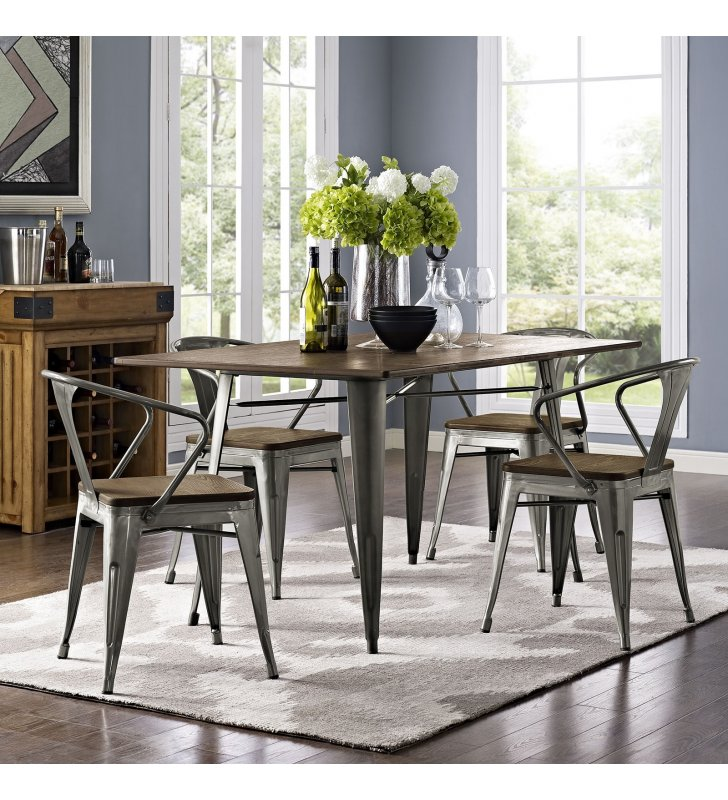 """Alacrity 59"""" Rectangle Wood Dining Table in Brown - Lexmod"""