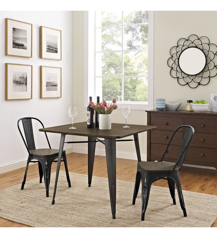 "Alacrity 36"" Square Wood Dining Table in Brown - Lexmod"