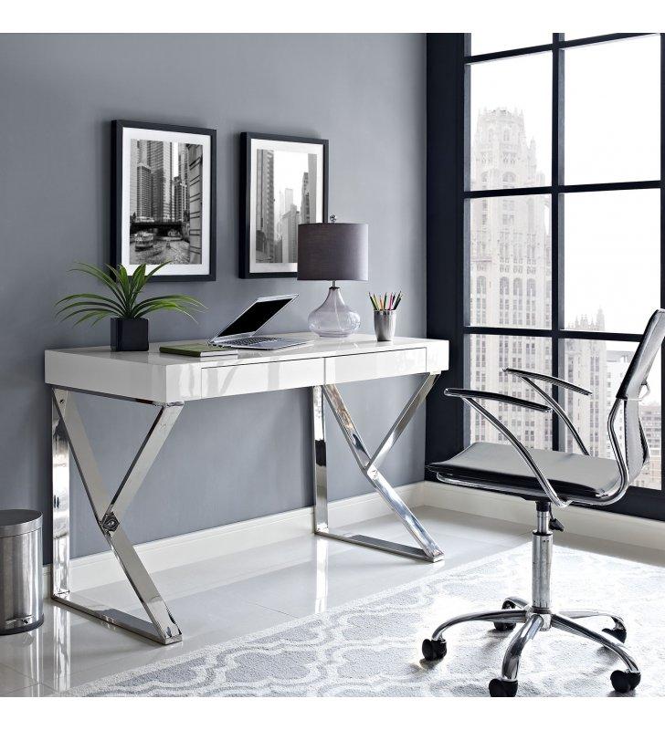 Adjacent Desk in White - Lexmod
