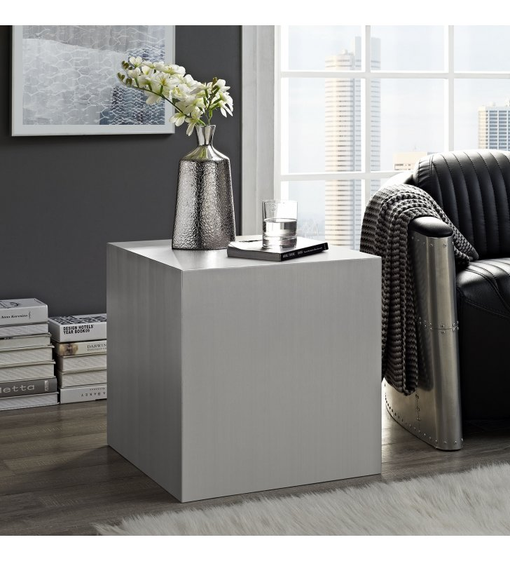 Cast Stainless Steel Side Table in Silver - Lexmod