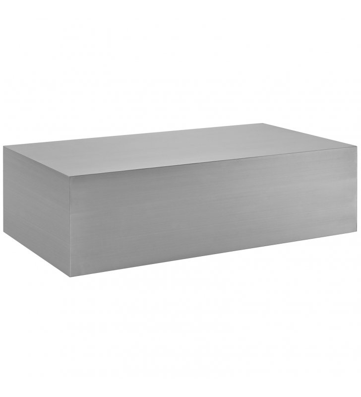 Cast Stainless Steel Coffee Table in Silver - Lexmod