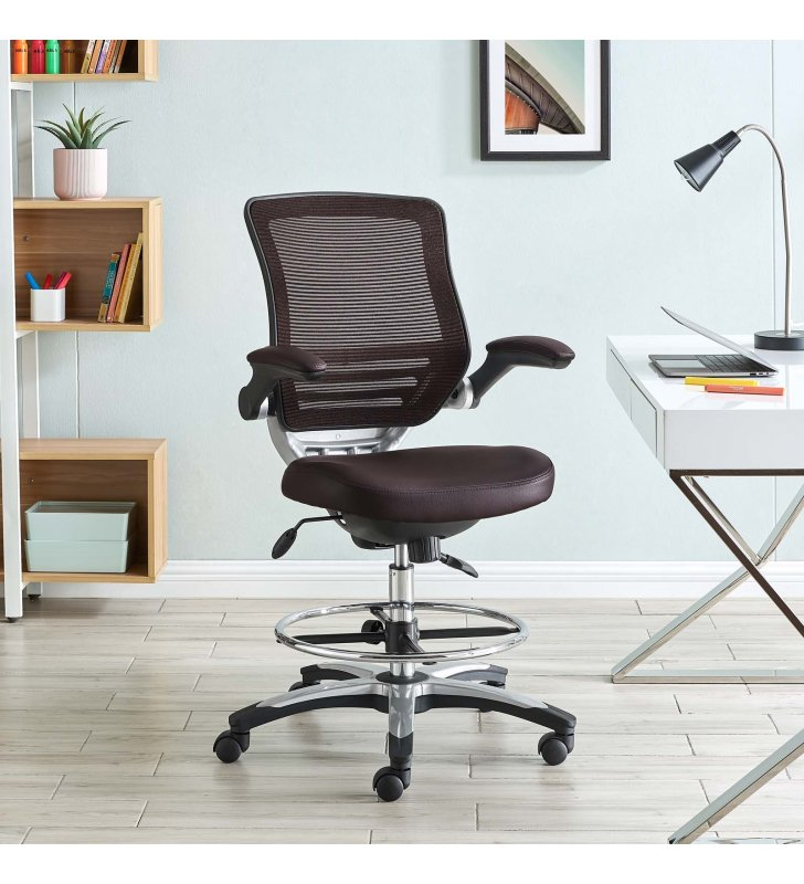 Edge Drafting Chair in Brown - Lexmod