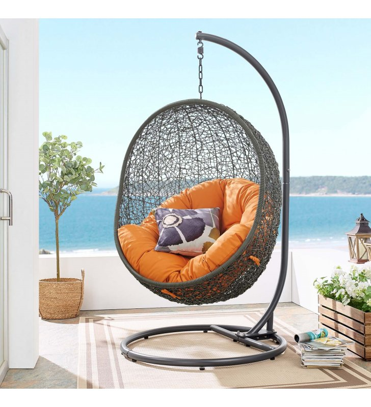 Hide Outdoor Patio Swing Chair With Stand in Gray Orange - Lexmod