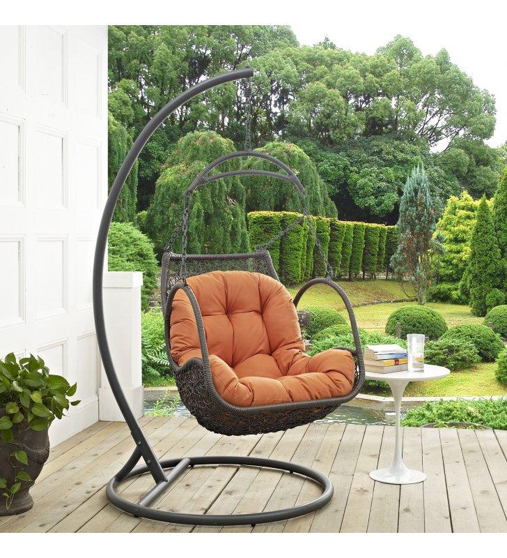 Arbor Outdoor Patio Wood Swing Chair in Orange - Lexmod