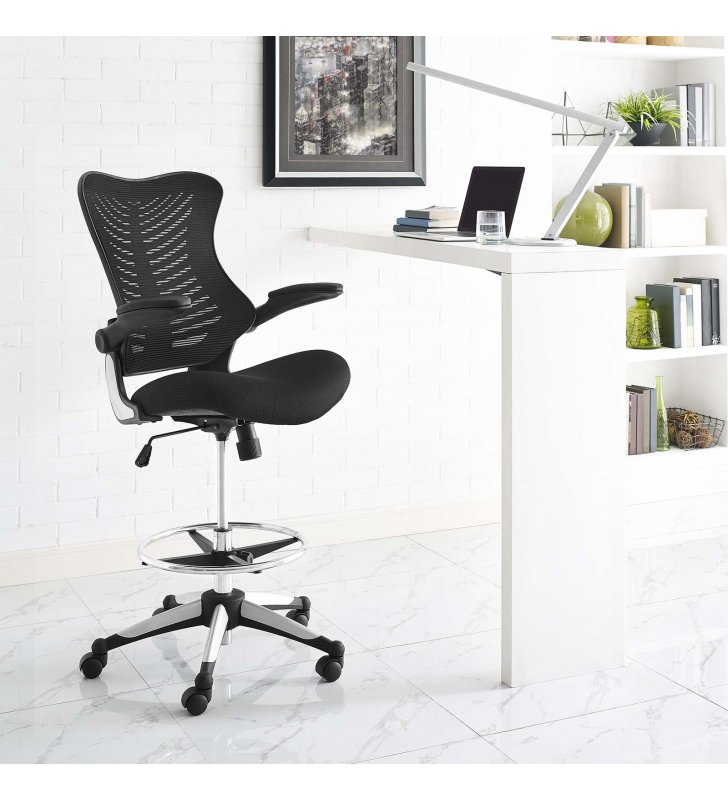 Charge Drafting Chair in Black - Lexmod