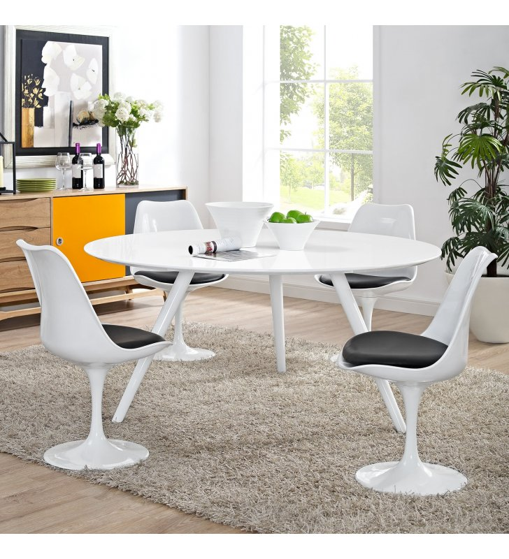 """Lippa 60"""" Round Wood Top Dining Table with Tripod Base in White - Lexmod"""