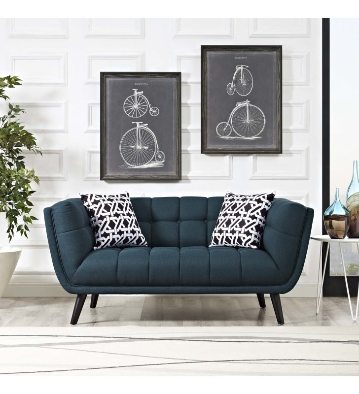 Bestow Upholstered Fabric Loveseat in Blue - Lexmod