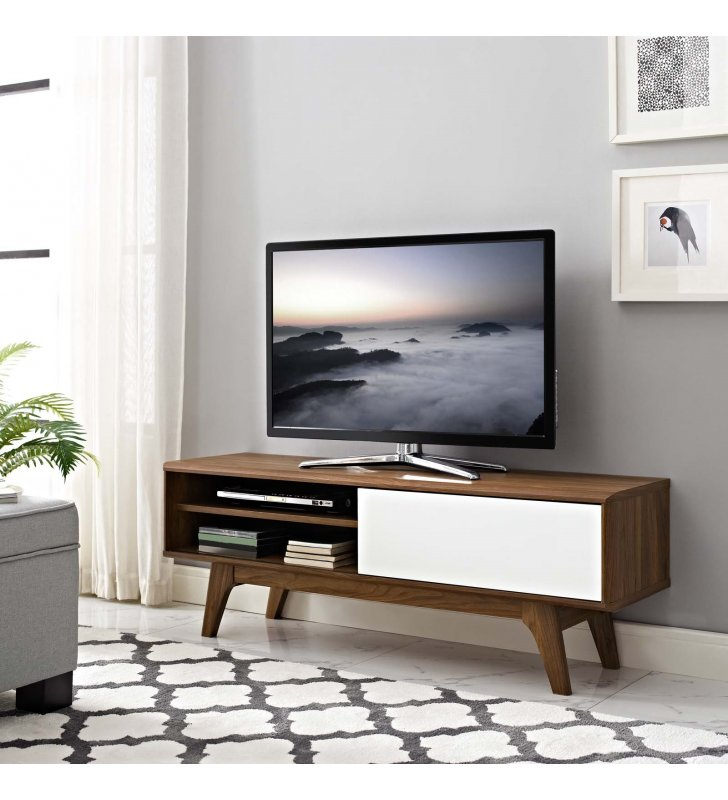 """Envision 48"""" TV Stand in Walnut White - Lexmod"""