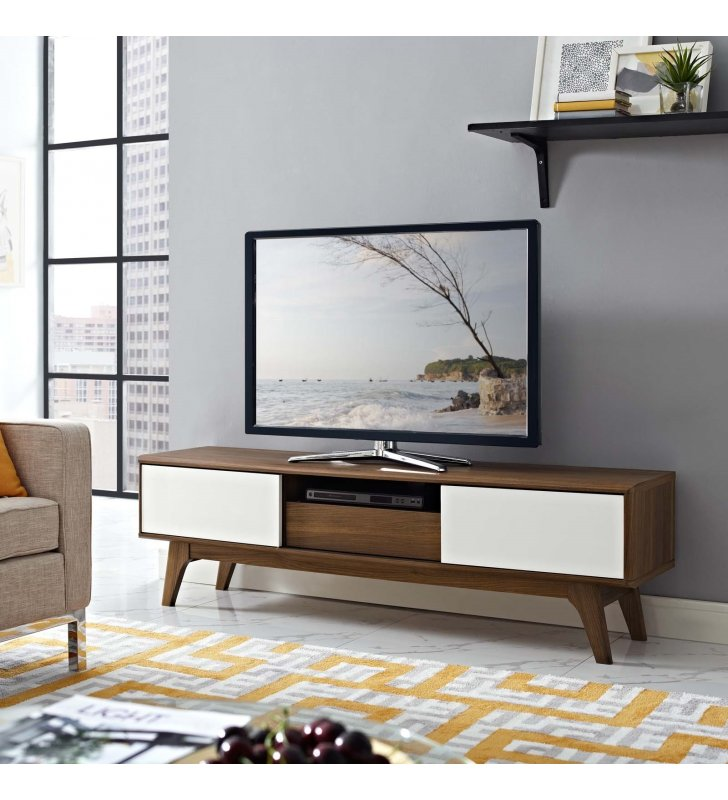 """Envision 59"""" TV Stand in Walnut White - Lexmod"""