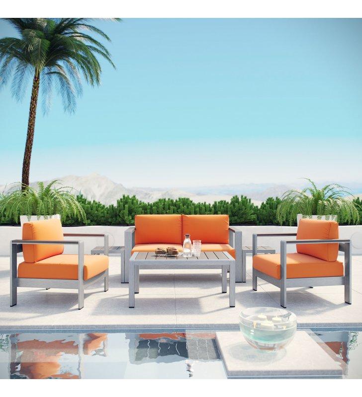 Shore 6 Piece Outdoor Patio Aluminum Sectional Sofa Set in Silver Orange - Lexmod