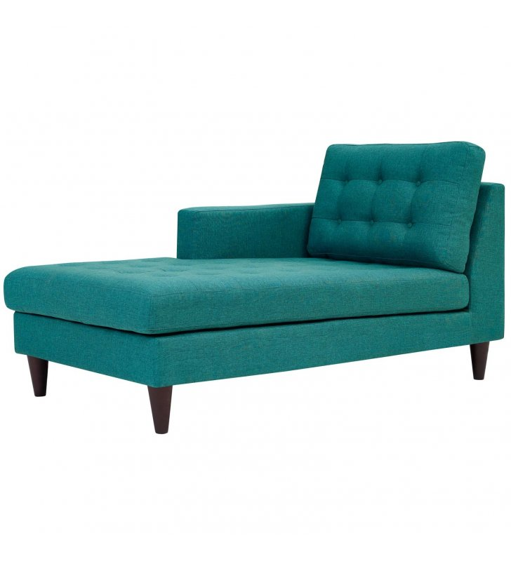 Empress Left-Arm Upholstered Fabric Chaise in Teal - Lexmod