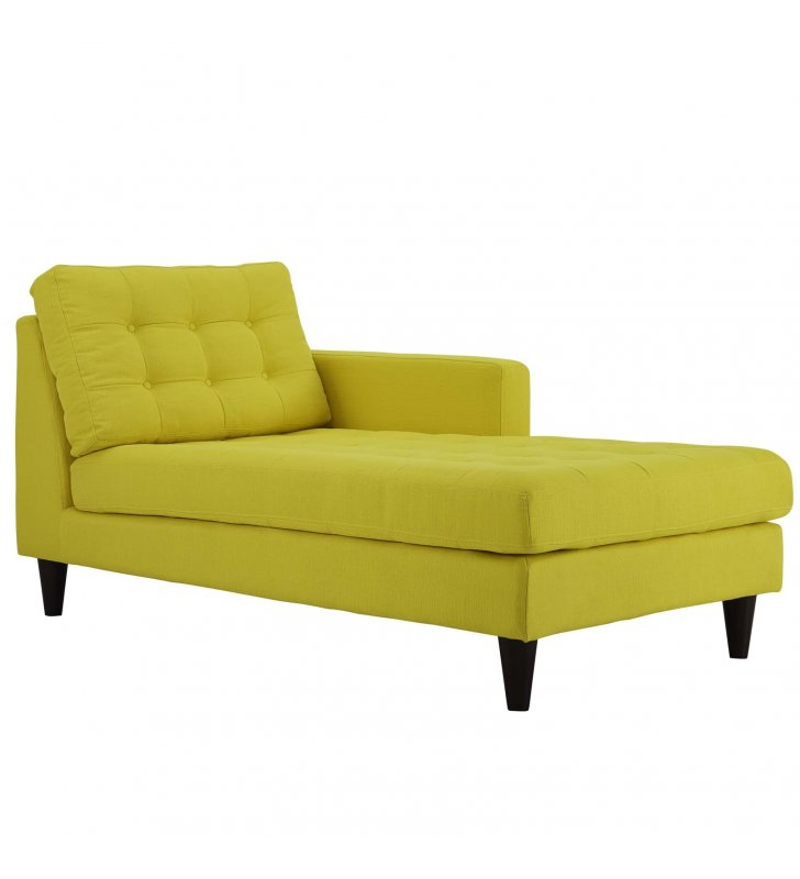 Empress Right-Arm Upholstered Fabric Chaise in Sunny - Lexmod