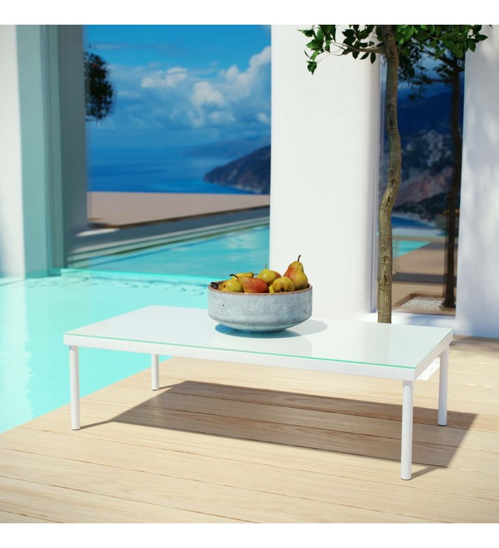 Harmony Outdoor Patio Aluminum Coffee Table in White - Lexmod