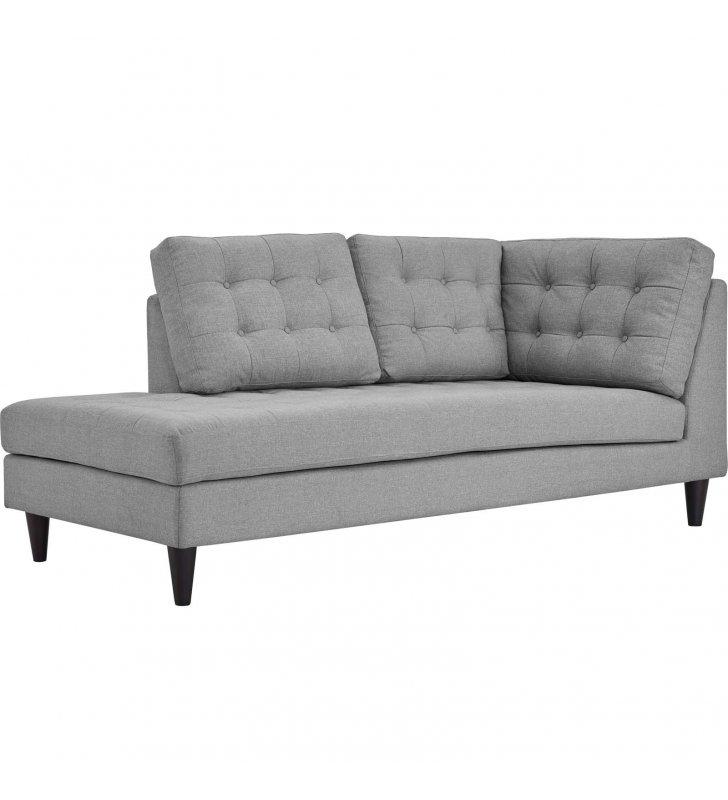 Empress Upholstered Fabric Left Facing Bumper in Light Gray - Lexmod